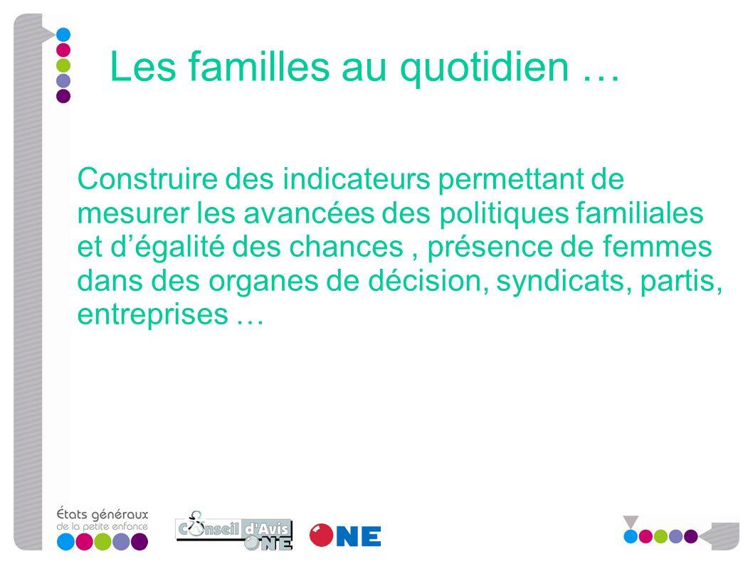 Construire des indicateurs permettant de mesurer les avancées des politiques familiales et d'égalité des chances, présence de femmes dans des organes
