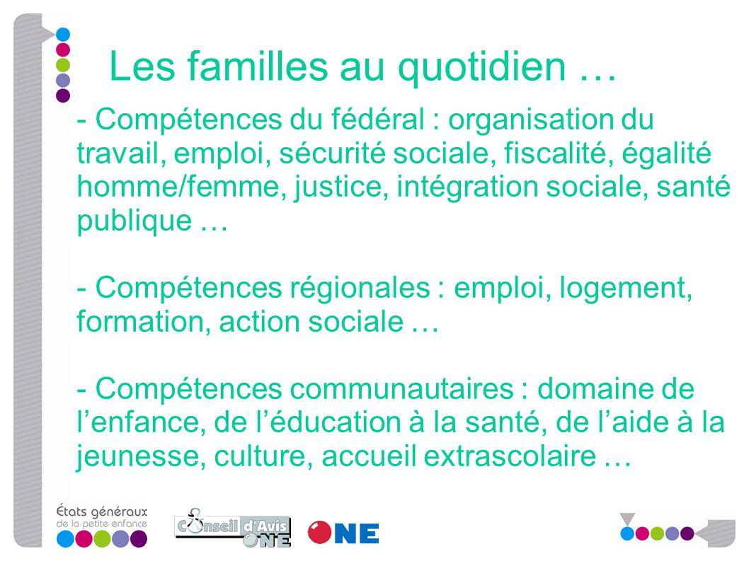 - Compétences du fédéral : organisation du travail, emploi, sécurité sociale, fiscalité, égalité homme/femme, justice, intégration sociale, santé publ