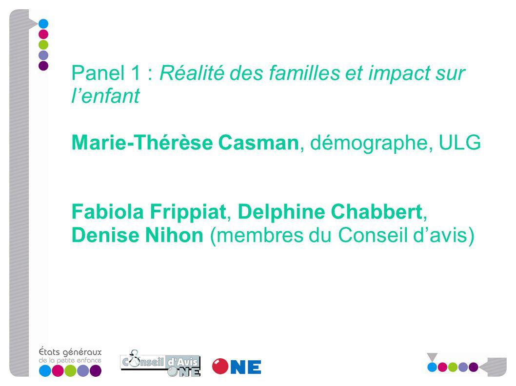 Panel 1 : Réalité des familles et impact sur l'enfant Marie-Thérèse Casman, démographe, ULG Fabiola Frippiat, Delphine Chabbert, Denise Nihon (membres