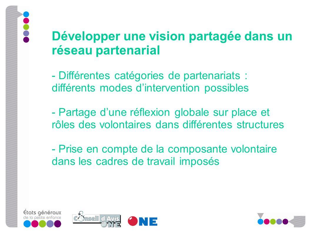Développer une vision partagée dans un réseau partenarial - Différentes catégories de partenariats : différents modes d'intervention possibles - Parta