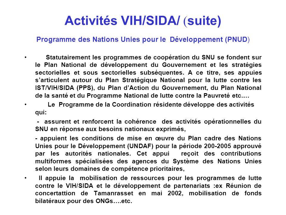 Activités VIH/SIDA/ ( suite) Programme des Nations Unies pour le Développement (PNUD) Dans le cadre de son Programme Régional Afrique du Nord et Moyen Orient et de ses priorités, le PNUD soutient des activités pour : - la formulation de stratégies de développement sectorielles et sous sectorielles intégrant la problématique du VIH- SIDA; - le renforcement des capacités institutionnelles; - le développement de partenariats institutionnels ex : secteur public, privé et ONGS, de partenariats régionaux : ex Initiative de Tamanrasset….etc.