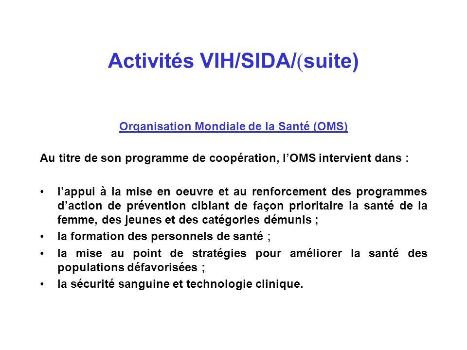 Activités VIH/SIDA/ ( suite) Programme des Nations Unies Pour la lutte contre le VIH/SIDA (ONUSIDA) Au niveau international ONUSIDA appuie l'Algérie depuis 1996 à travers l'allocation de fonds catalytiques pour initier des activités novatrices de prévention pour lutter efficacement contre l'épidémie.