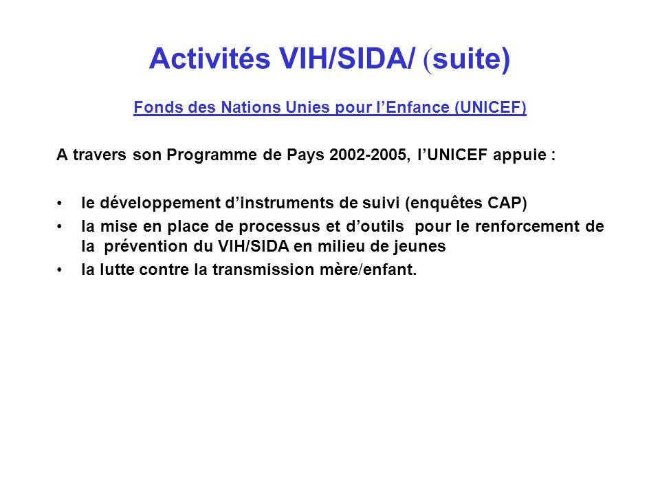 Contributions moyennes du SNU Algérie dans la lutte contre le VIH/SIDA AGENCE DOMAINE D'INTERVENTION BUDGET ANNUEL MOYEN $US PNUD/ Coordination Résidente Réduction de l'impact socio économique des IST/VIH/SIDA et renforcement des capacités 70 000 BIT Prévention des IST/VIH/SIDA en milieu de travail 20 000 OMS Prévention et prise en charge des IST/VIH/SIDA 500 000 UNICEF Prévention des IST/VIH/SIDA chez les femmes et les enfants 100 000 FNUAP Intégration de la Prévention des IST/VIH/SIDA dans les des Programmes de Santé Reproductive et Sexuelle 110 000 ONUSIDA Prévention des IST/VIH/SIDA 40 000