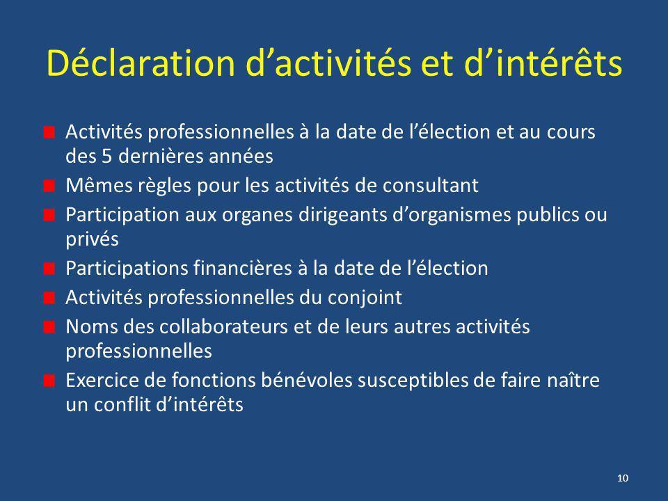 10 Déclaration d'activités et d'intérêts Activités professionnelles à la date de l'élection et au cours des 5 dernières années Mêmes règles pour les a