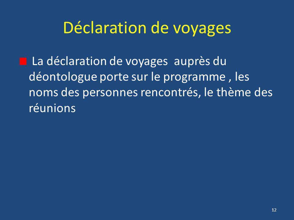 12 Déclaration de voyages La déclaration de voyages auprès du déontologue porte sur le programme, les noms des personnes rencontrés, le thème des réun