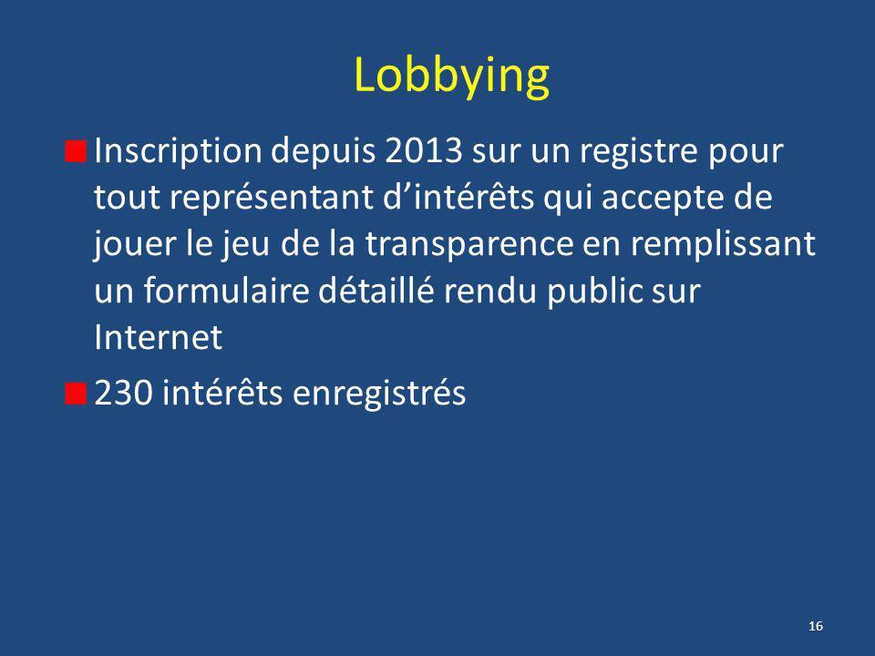 16 Lobbying Inscription depuis 2013 sur un registre pour tout représentant d'intérêts qui accepte de jouer le jeu de la transparence en remplissant un