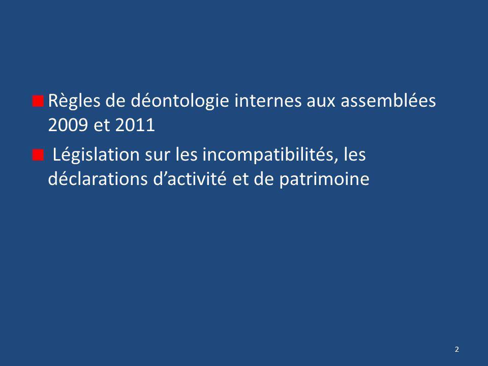 2 Règles de déontologie internes aux assemblées 2009 et 2011 Législation sur les incompatibilités, les déclarations d'activité et de patrimoine