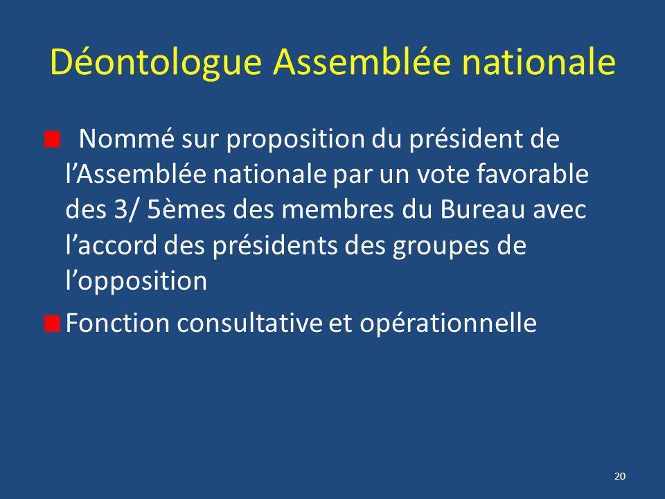 20 Déontologue Assemblée nationale Nommé sur proposition du président de l'Assemblée nationale par un vote favorable des 3/ 5èmes des membres du Burea