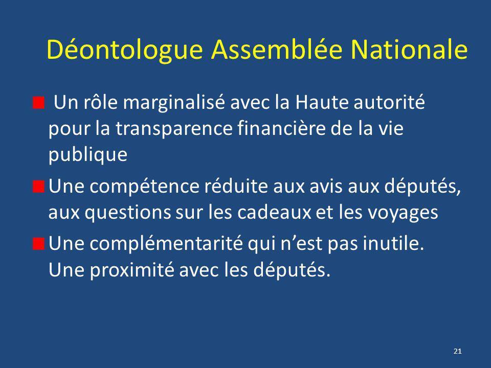 21 Déontologue Assemblée Nationale Un rôle marginalisé avec la Haute autorité pour la transparence financière de la vie publique Une compétence réduit