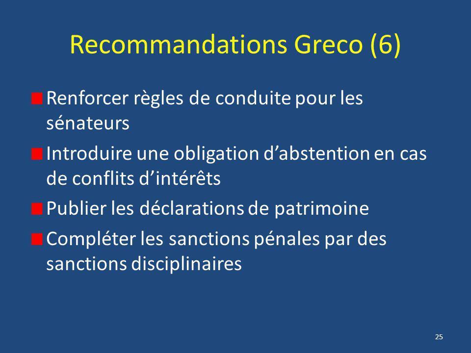 25 Recommandations Greco (6) Renforcer règles de conduite pour les sénateurs Introduire une obligation d'abstention en cas de conflits d'intérêts Publ
