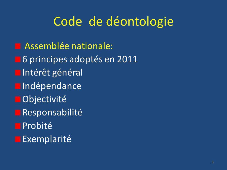 3 Code de déontologie Assemblée nationale: 6 principes adoptés en 2011 Intérêt général Indépendance Objectivité Responsabilité Probité Exemplarité