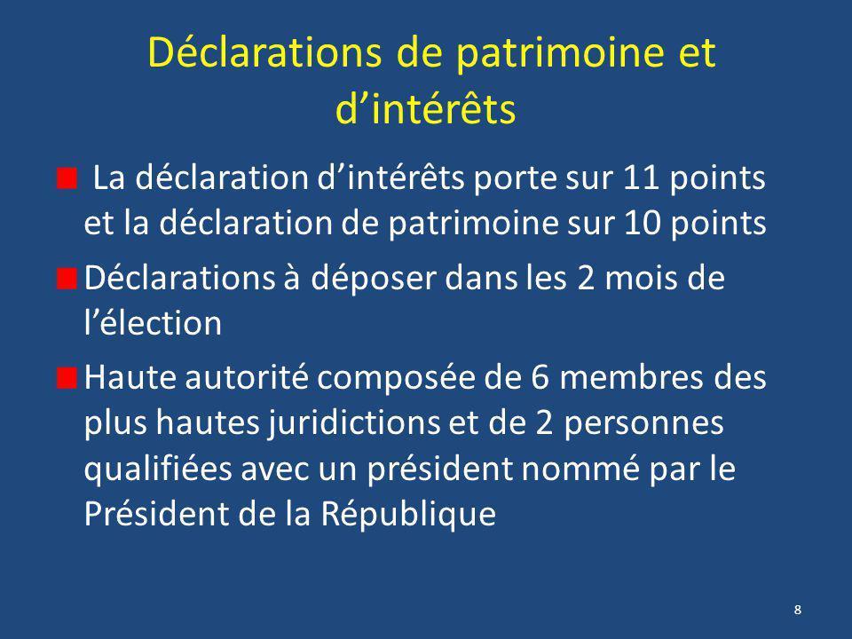 8 Déclarations de patrimoine et d'intérêts La déclaration d'intérêts porte sur 11 points et la déclaration de patrimoine sur 10 points Déclarations à