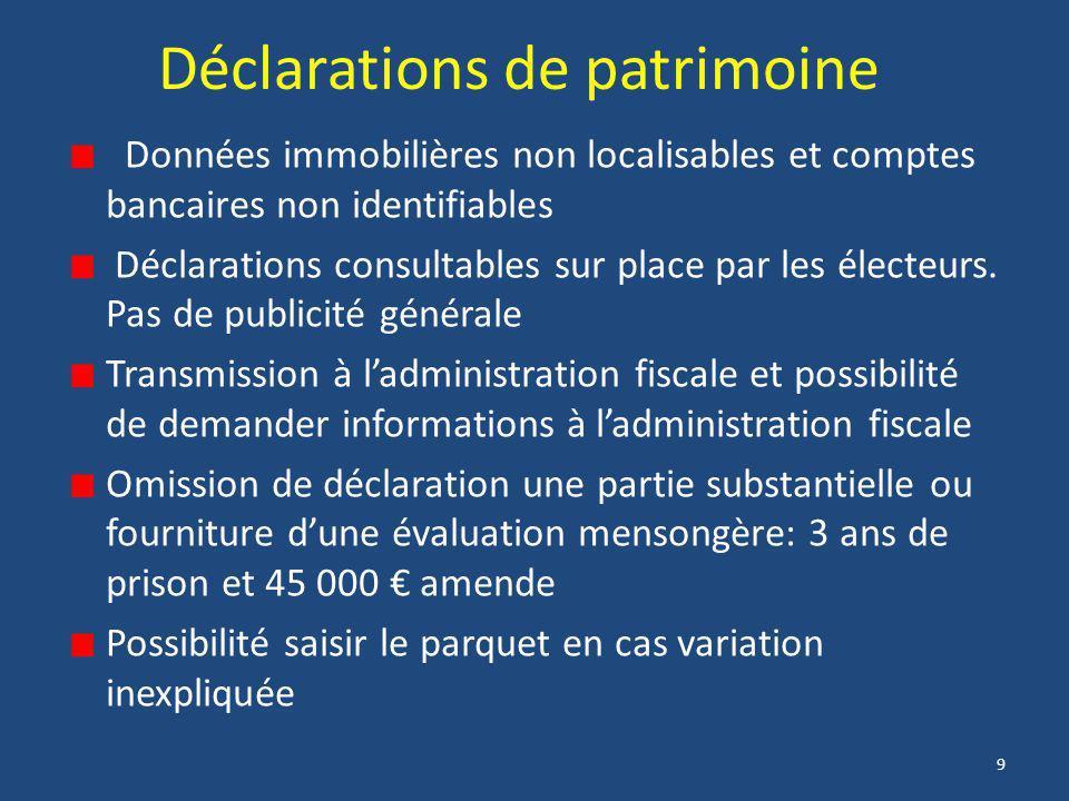 9 Déclarations de patrimoine Données immobilières non localisables et comptes bancaires non identifiables Déclarations consultables sur place par les