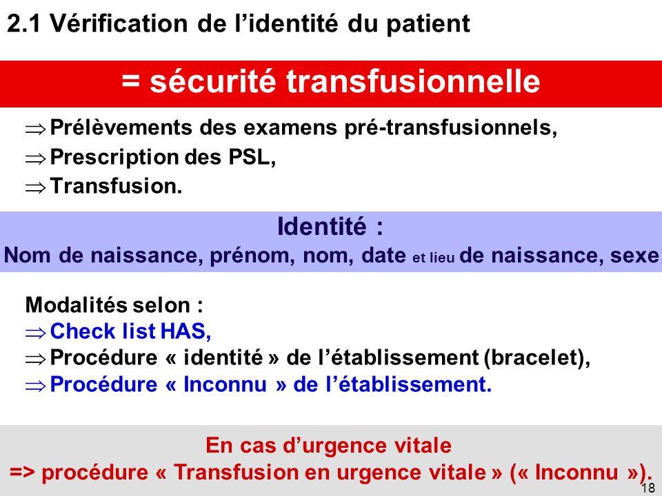 17 2. Règles de la sécurité transfusionnelle => Bonnes pratiques en 12 étapes 2.1 Vérification de l'identité du patient 2.2 Information du patient 2.3