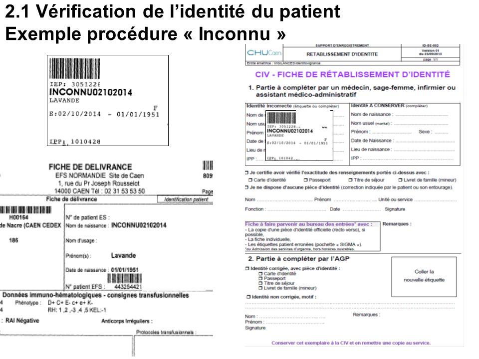 18 2.1 Vérification de l'identité du patient  Prélèvements des examens pré-transfusionnels,  Prescription des PSL,  Transfusion. Modalités selon :