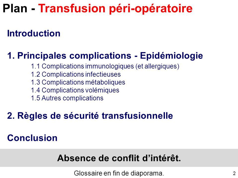 1 Transfusion péri-opératoire Principales complications - Epidémiologie Règles de sécurité transfusionnelle 11 octobre 2014 25 ème Journée Bas-Normand