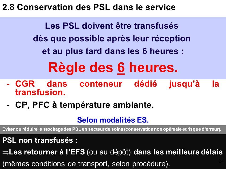 2.7 Réception des PSL dans le service Contrôle de : - Identité du receveur et de l'UF destinataire sur la fiche de délivrance qui accompagne les PSL.