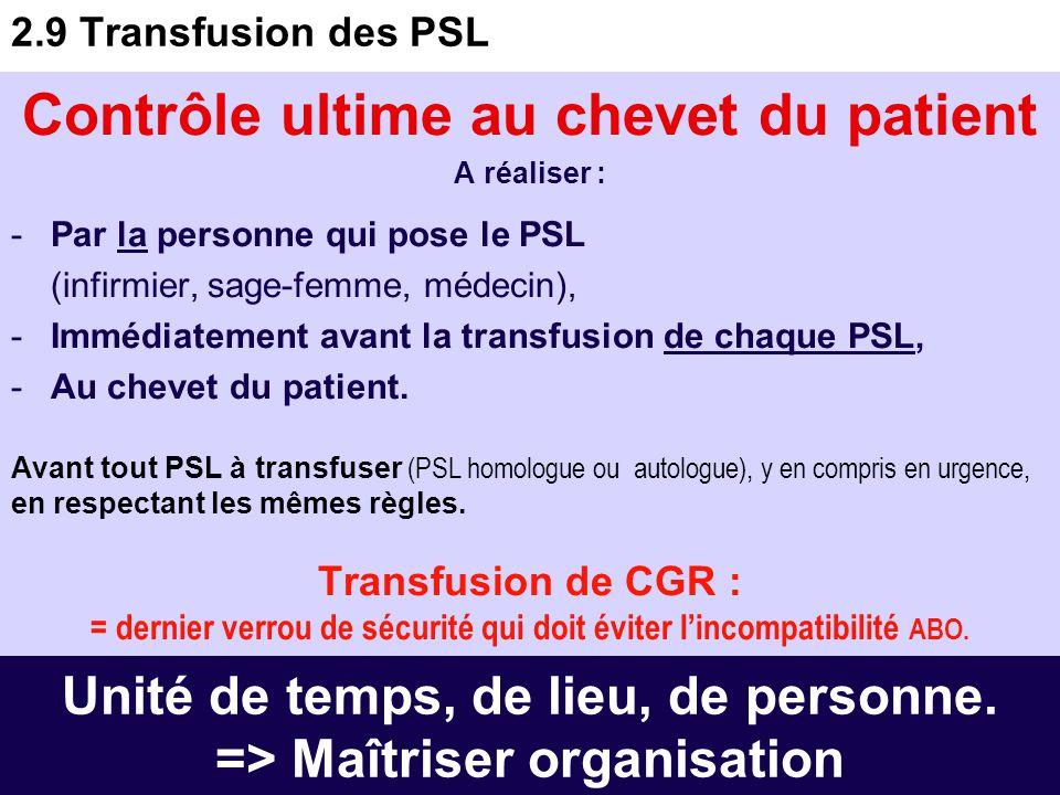 24 2.8 Conservation des PSL dans le service -CGR dans conteneur dédié jusqu'à la transfusion. -CP, PFC à température ambiante. Selon modalités ES. Les