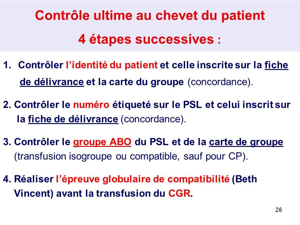 25 2.9 Transfusion des PSL Contrôle ultime au chevet du patient A réaliser : -Par la personne qui pose le PSL (infirmier, sage-femme, médecin), -Imméd