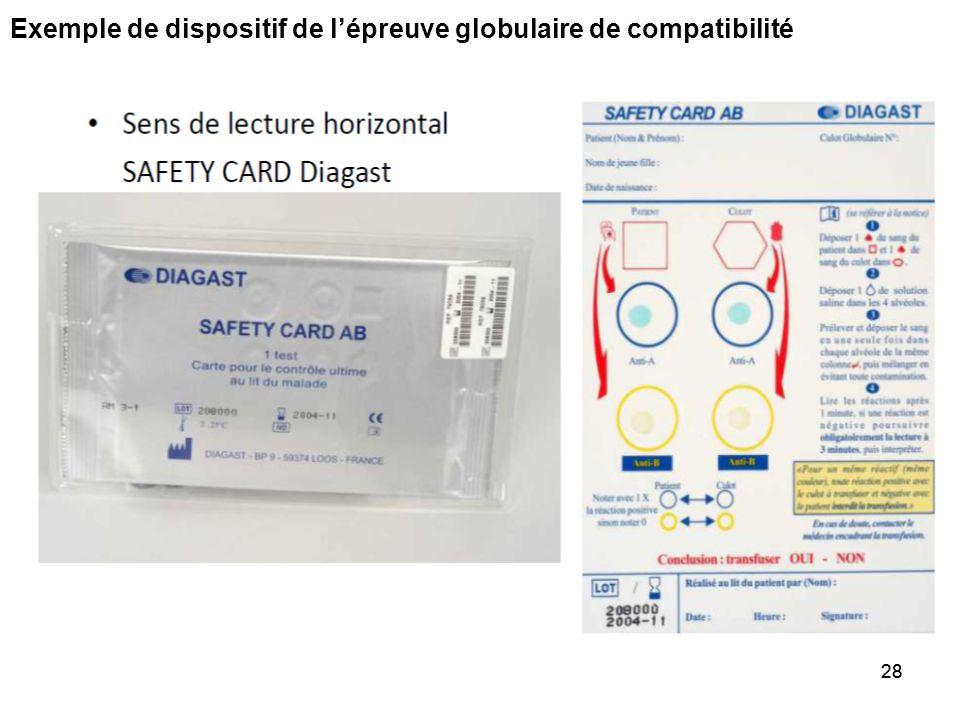 Exemple de dispositif de l'épreuve globulaire de compatibilité 27