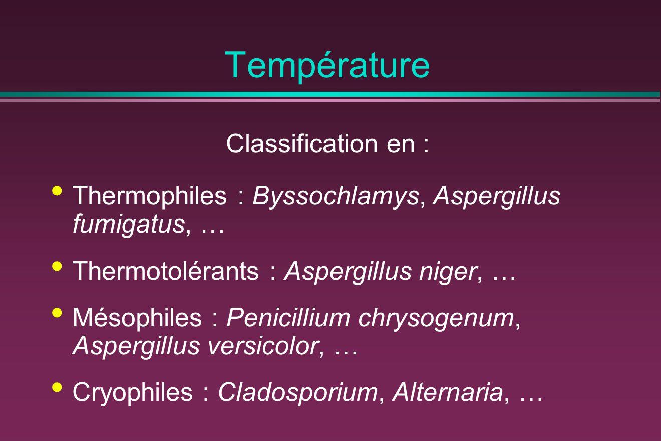 Température Classification en : Thermophiles : Byssochlamys, Aspergillus fumigatus, … Thermotolérants : Aspergillus niger, … Mésophiles : Penicillium chrysogenum, Aspergillus versicolor, … Cryophiles : Cladosporium, Alternaria, …