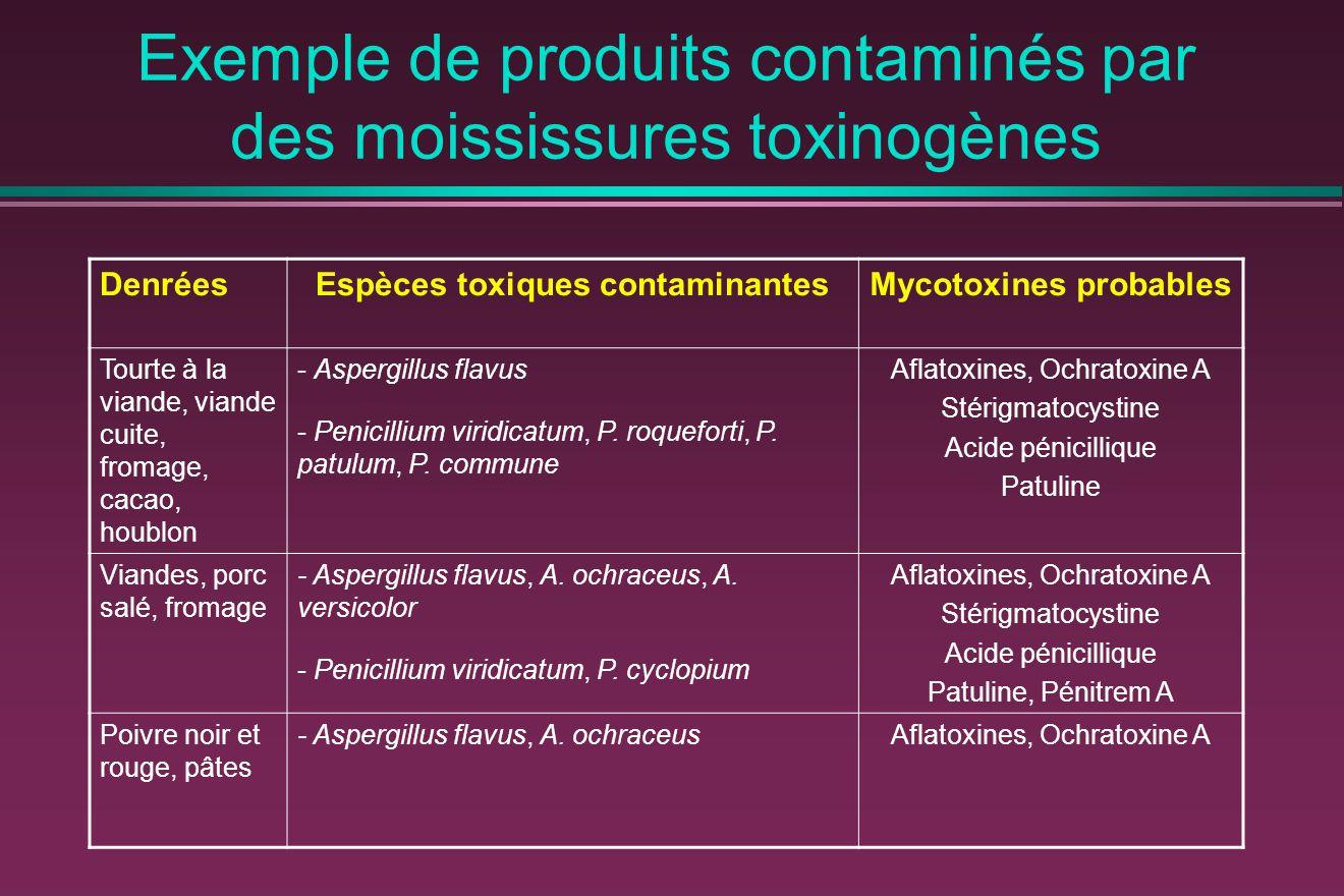 Exemple de produits contaminés par des moississures toxinogènes DenréesEspèces toxiques contaminantesMycotoxines probables Tourte à la viande, viande cuite, fromage, cacao, houblon - Aspergillus flavus - Penicillium viridicatum, P.