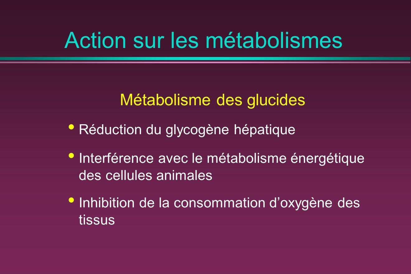 Action sur les métabolismes Métabolisme des glucides Réduction du glycogène hépatique Interférence avec le métabolisme énergétique des cellules animales Inhibition de la consommation d'oxygène des tissus