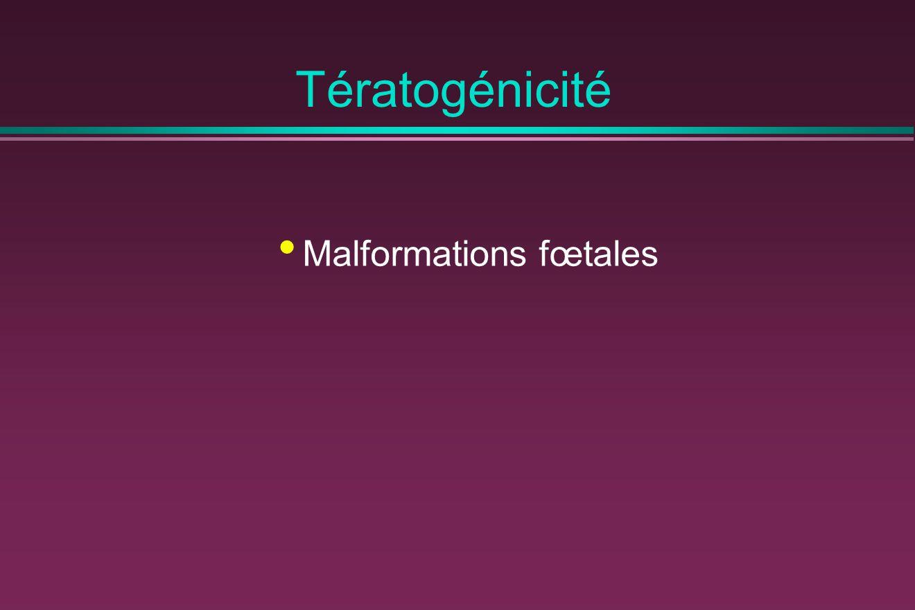 Tératogénicité Malformations fœtales