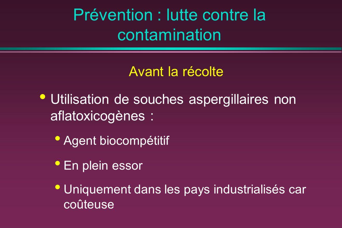 Prévention : lutte contre la contamination Avant la récolte Utilisation de souches aspergillaires non aflatoxicogènes : Agent biocompétitif En plein essor Uniquement dans les pays industrialisés car coûteuse