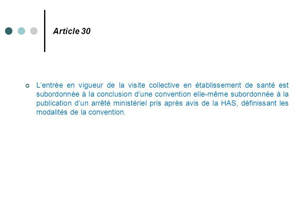 Article 30 L'entrée en vigueur de la visite collective en établissement de santé est subordonnée à la conclusion d'une convention elle-même subordonné