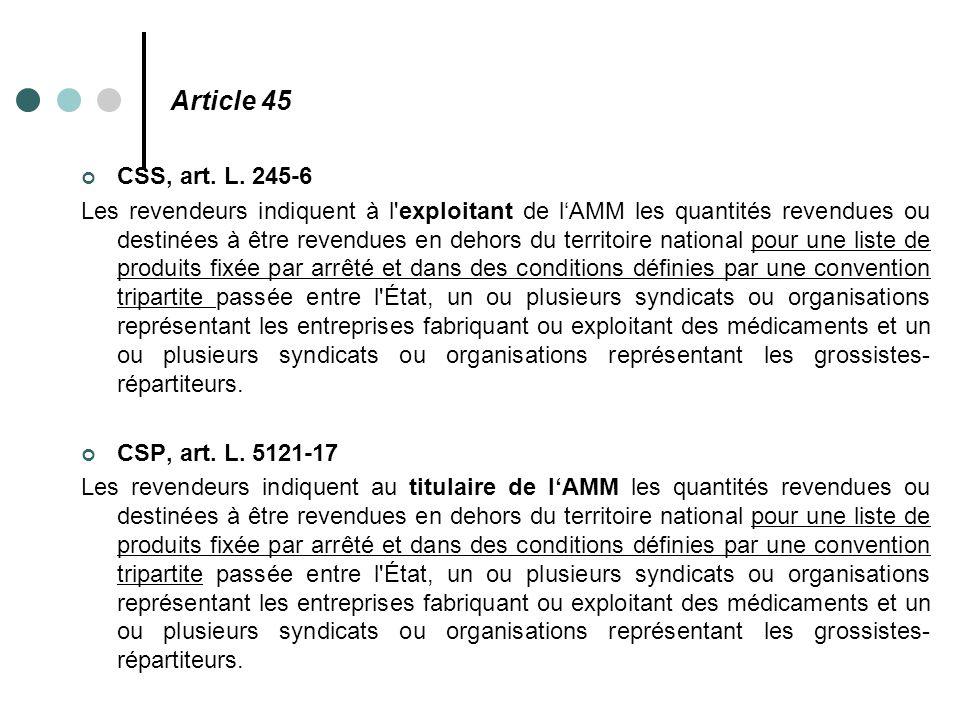 Article 45 CSS, art. L. 245-6 Les revendeurs indiquent à l'exploitant de l'AMM les quantités revendues ou destinées à être revendues en dehors du terr
