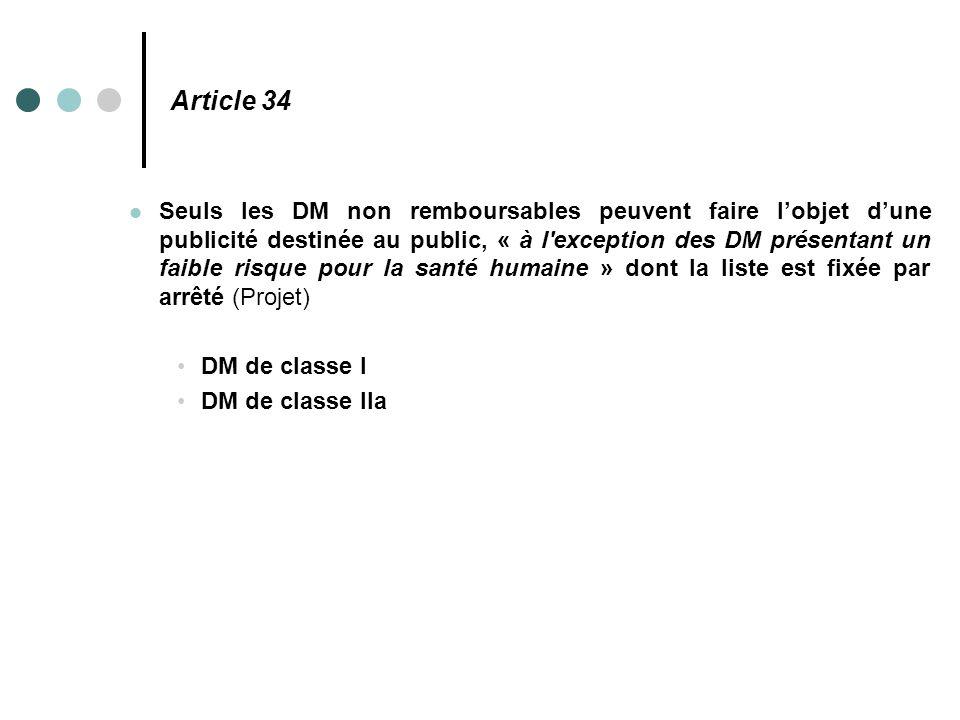 Article 34 Seuls les DM non remboursables peuvent faire l'objet d'une publicité destinée au public, « à l'exception des DM présentant un faible risque