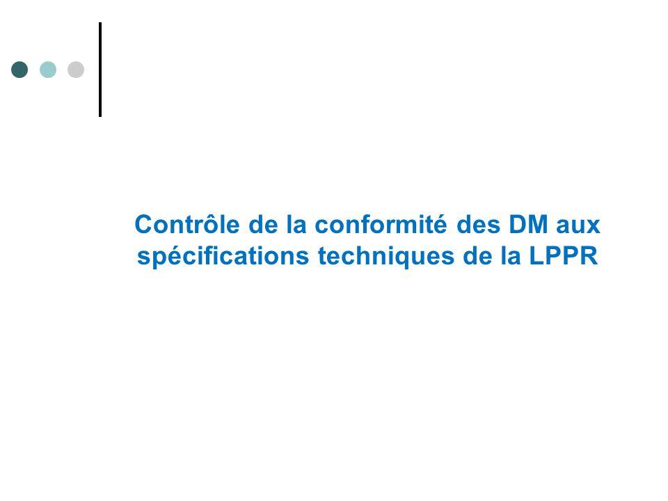 Contrôle de la conformité des DM aux spécifications techniques de la LPPR