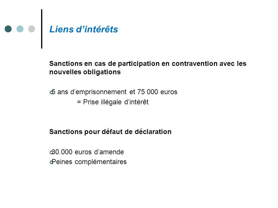 Liens d'intérêts Sanctions en cas de participation en contravention avec les nouvelles obligations 5 ans d'emprisonnement et 75 000 euros = Prise illé