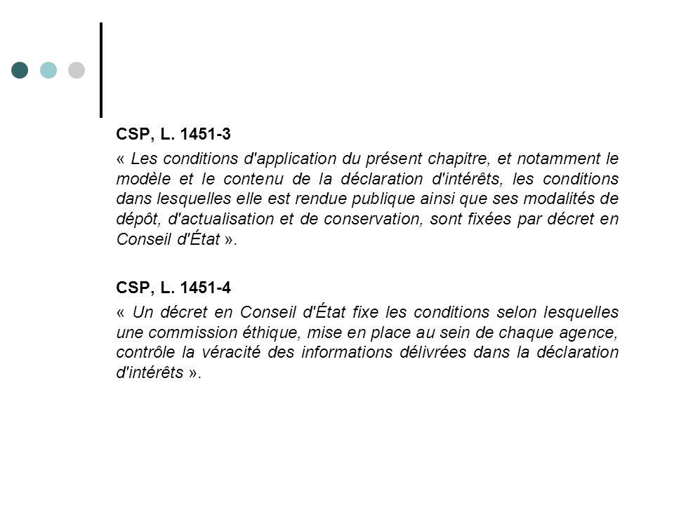 CSP, L. 1451-3 « Les conditions d'application du présent chapitre, et notamment le modèle et le contenu de la déclaration d'intérêts, les conditions d