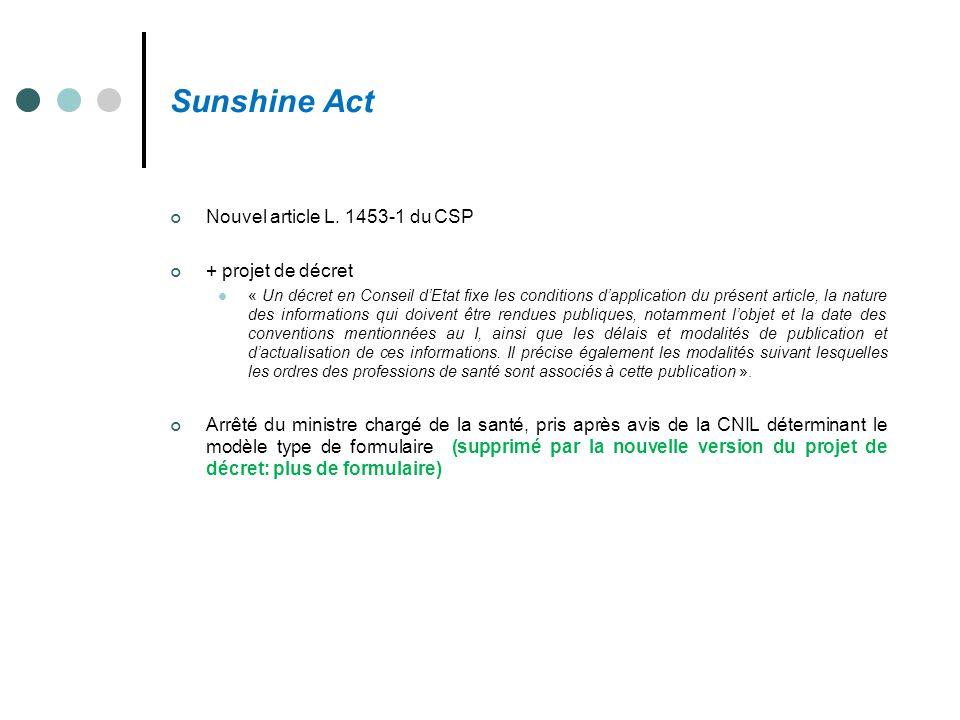 Sunshine Act Nouvel article L. 1453-1 du CSP + projet de décret « Un décret en Conseil d'Etat fixe les conditions d'application du présent article, la