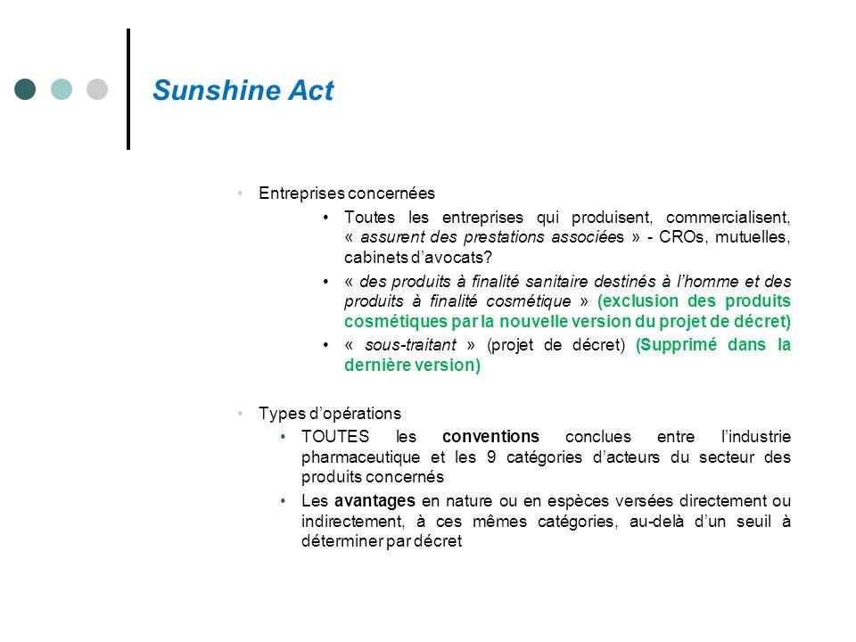 Sunshine Act Entreprises concernées Toutes les entreprises qui produisent, commercialisent, « assurent des prestations associées » - CROs, mutuelles,
