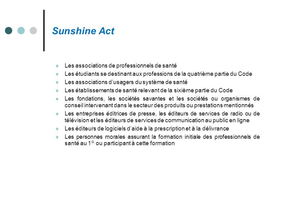 Sunshine Act Les associations de professionnels de santé Les étudiants se destinant aux professions de la quatrième partie du Code Les associations d'