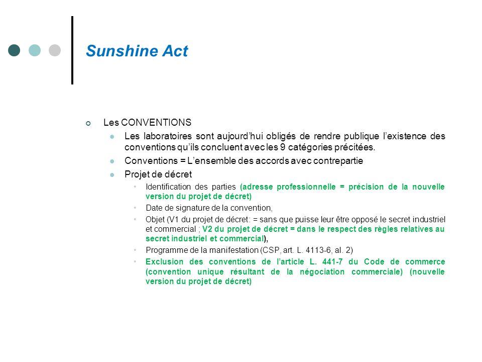 Sunshine Act Les CONVENTIONS Les laboratoires sont aujourd'hui obligés de rendre publique l'existence des conventions qu'ils concluent avec les 9 caté