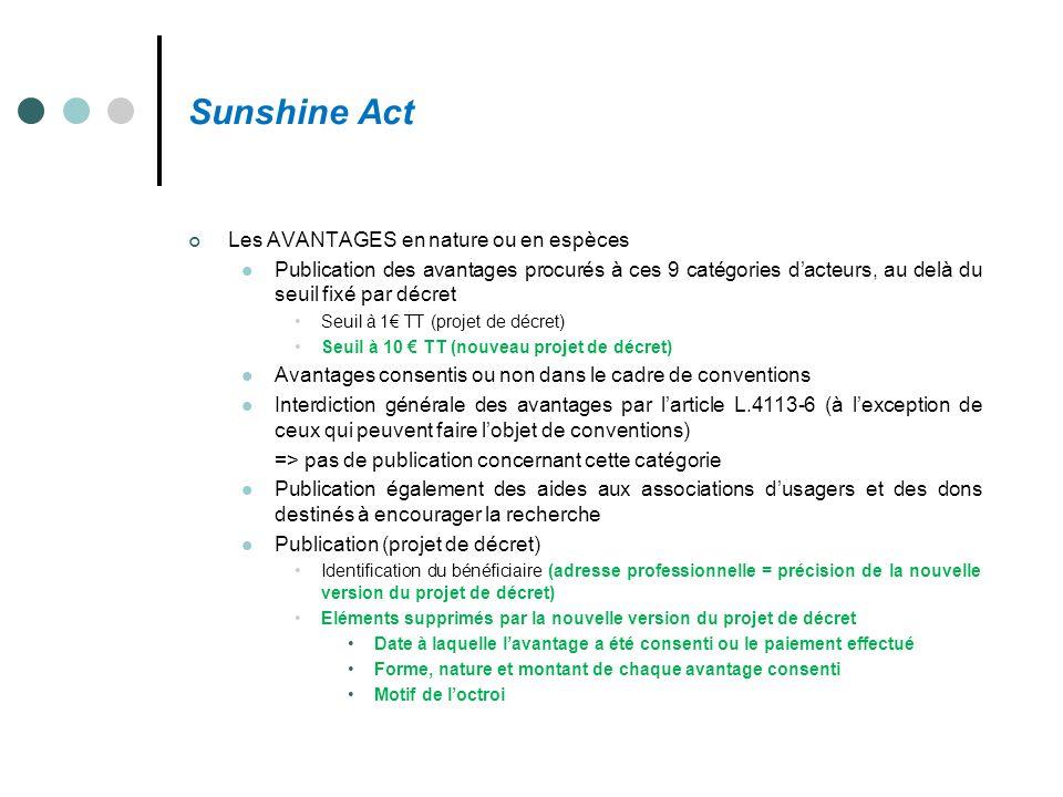 Sunshine Act Les AVANTAGES en nature ou en espèces Publication des avantages procurés à ces 9 catégories d'acteurs, au delà du seuil fixé par décret S
