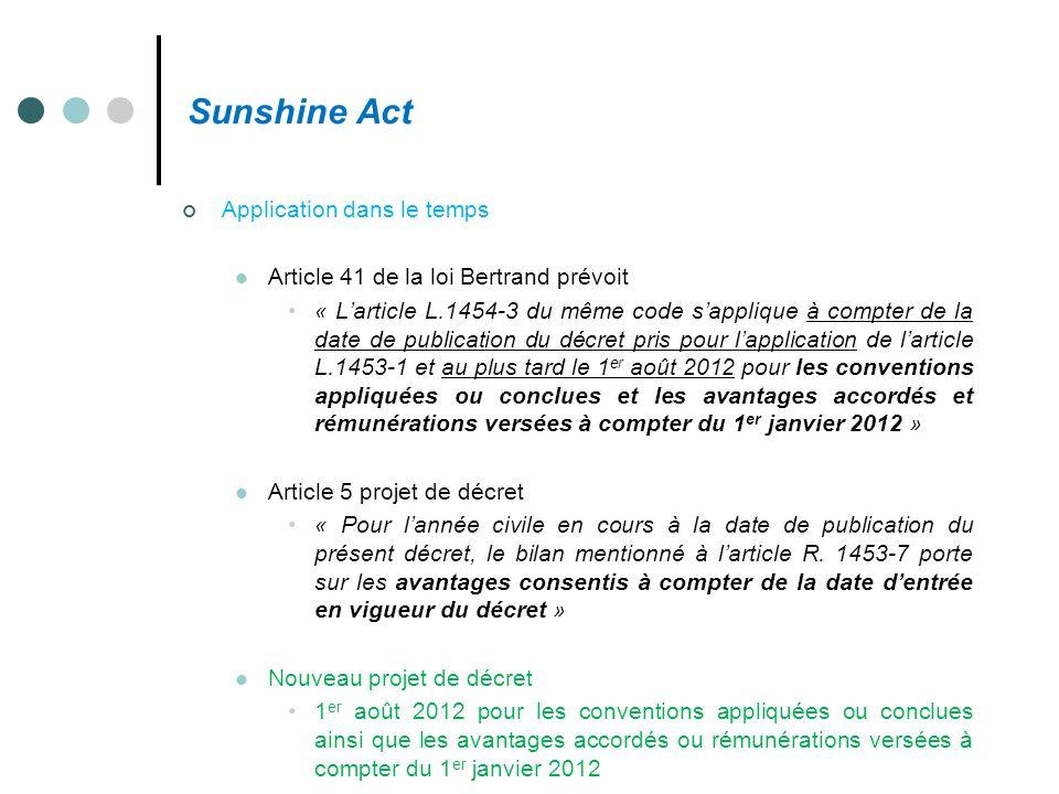 Sunshine Act Application dans le temps Article 41 de la loi Bertrand prévoit « L'article L.1454-3 du même code s'applique à compter de la date de publ