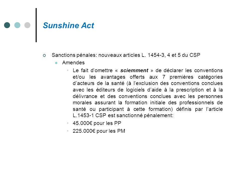 Sunshine Act Sanctions pénales: nouveaux articles L. 1454-3, 4 et 5 du CSP Amendes Le fait d'omettre « sciemment » de déclarer les conventions et/ou l