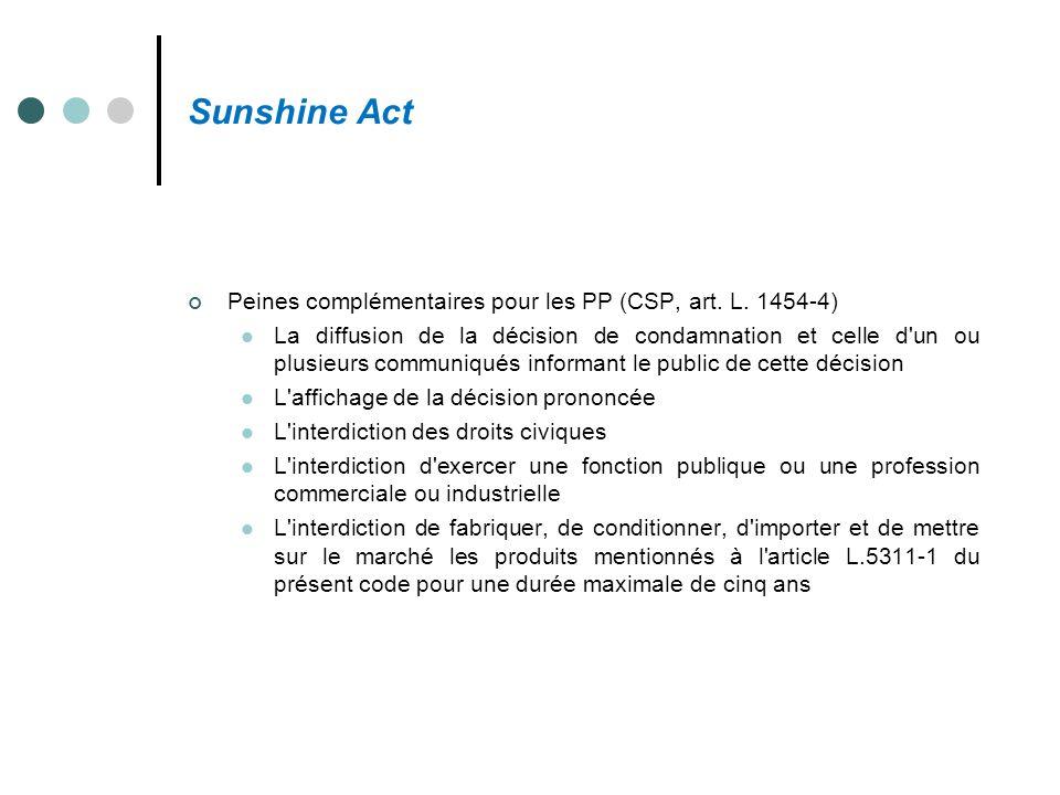 Sunshine Act Peines complémentaires pour les PP (CSP, art. L. 1454-4) La diffusion de la décision de condamnation et celle d'un ou plusieurs communiqu