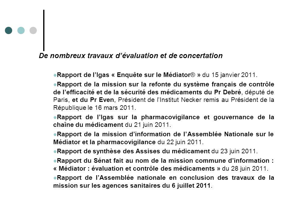 De nombreux travaux d'évaluation et de concertation Rapport de l'Igas « Enquête sur le Médiator® » du 15 janvier 2011. Rapport de la mission sur la re