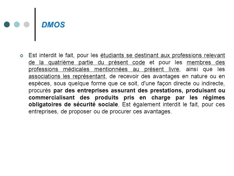 DMOS Est interdit le fait, pour les étudiants se destinant aux professions relevant de la quatrième partie du présent code et pour les membres des pro