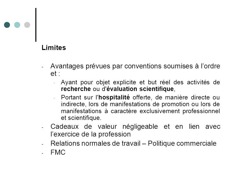 Limites - Avantages prévues par conventions soumises à l'ordre et : - Ayant pour objet explicite et but réel des activités de recherche ou d'évaluatio