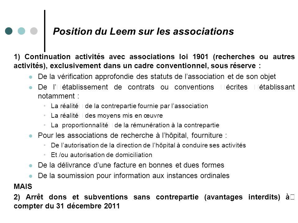 Position du Leem sur les associations 1) Continuation activités avec associations loi 1901 (recherches ou autres activités), exclusivement dans un cad