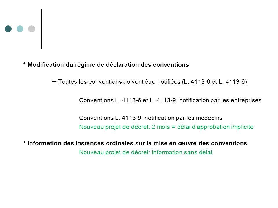 * Modification du régime de déclaration des conventions ► Toutes les conventions doivent être notifiées (L. 4113-6 et L. 4113-9) Conventions L. 4113-6