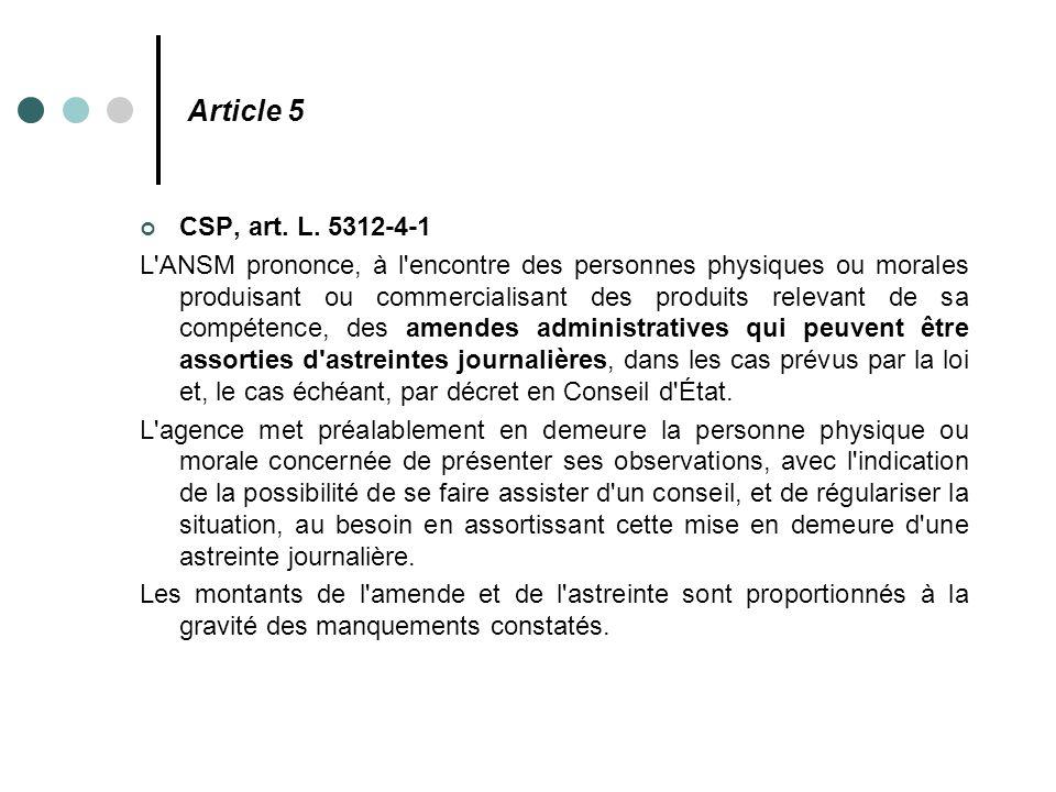 Article 5 CSP, art. L. 5312-4-1 L'ANSM prononce, à l'encontre des personnes physiques ou morales produisant ou commercialisant des produits relevant d