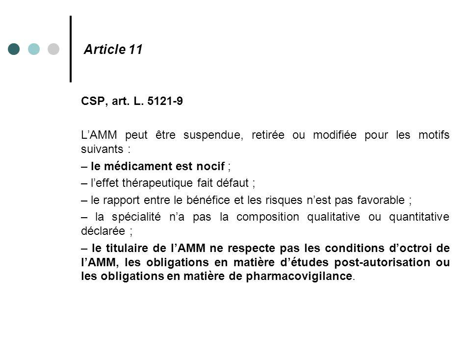 Article 11 CSP, art. L. 5121-9 L'AMM peut être suspendue, retirée ou modifiée pour les motifs suivants : – le médicament est nocif ; – l'effet thérape